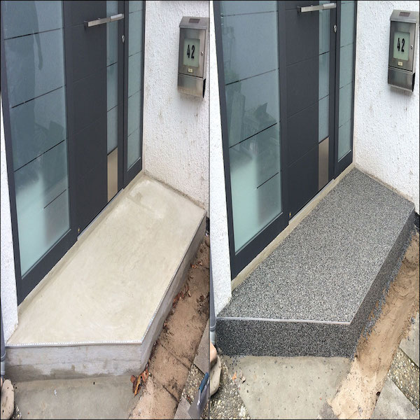 Steinteppich Vorhher Nachher