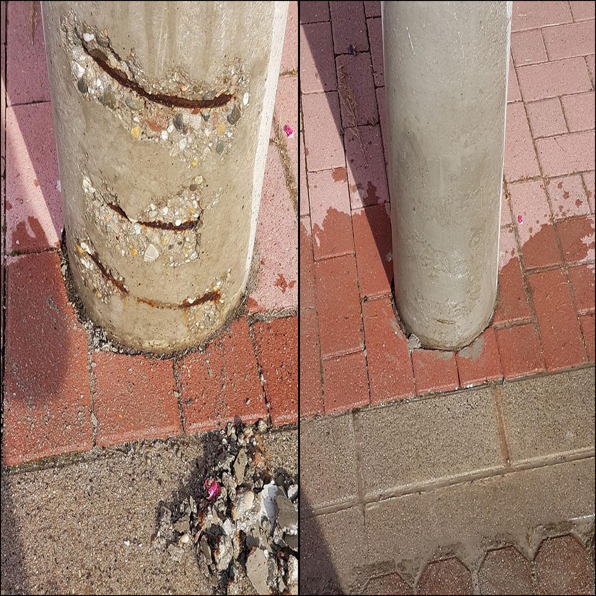 Sanierung Betonpfosten Vorhher Nachher
