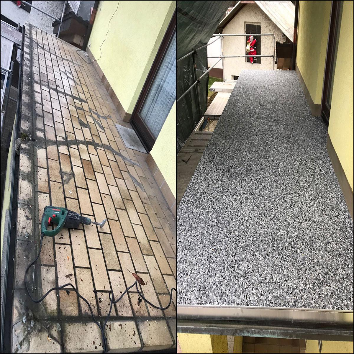 Terrassensanierung Vorhher Nachher